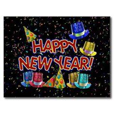 Happy New Year Party Hats Postcard by #I_Love_Xmas #newyearscelebration #happynewyear #gravityx9