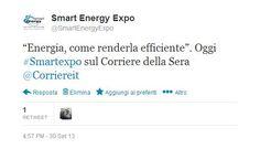 """""""Energia, come renderla efficiente"""". Oggi #Smartexpo sul Corriere della Sera"""