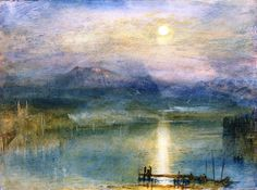 Joseph Mallord William Turner (1775 — 1851, UK) Moonlight on Lake Lucerne with the Rigi in the Distance, Switzerland. c. 1841 watercolour, bodycolour and scratching out on paper. 23 x 30.7 cm (9.06 x 12.09 in.)