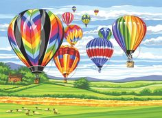 Amazon.com - Reeves Hot Air Balloons Large Acrylic Paint By Numbers Set - Childrens Paint By Number Kits