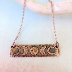Moon Phase Necklace by Red Fern Studio on Etsy  www.redfernstudio.etsy.com #copperbarnecklace #coppermoon