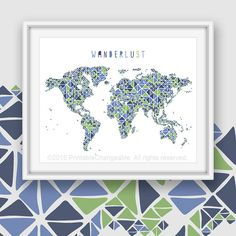 World map art printable coral teal turquoise dot pattern nursery world map art printable navy green 57 by printablechangeable gumiabroncs Images