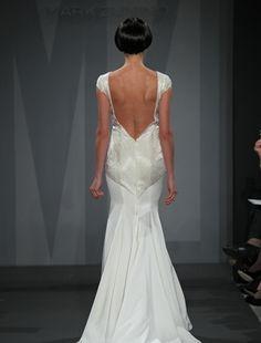 Back: Mark Zunino Sheath Wedding Dress with Illusion Neckline and Dropped Waist Waistline
