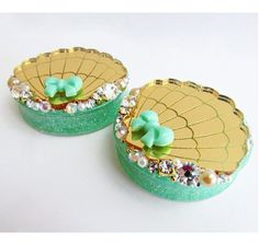 "Image of MADE TO ORDER 32mm - 50mm (2"") Gold & mint mermaid embellishment plugs"