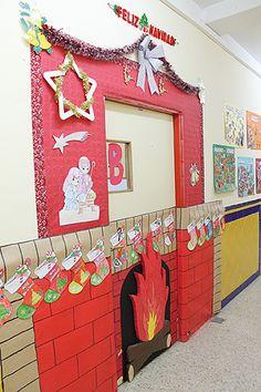 Osos en fondo azul puertas ideas pinterest navidad for Puertas decoradas navidad colegio
