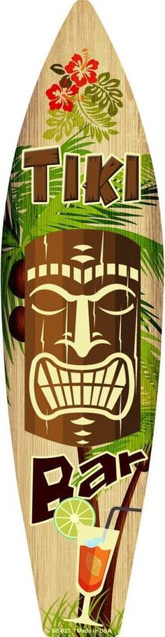Tiki Bar Surf Board Sign