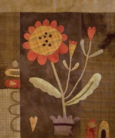 "Wool Applique pattern by Maggie Bonanomi - beautiful primitive autumn wall hanging 22"" x 25-1/2"""