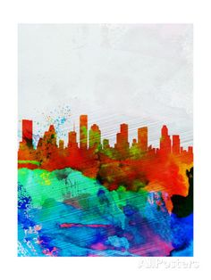 Houston Watercolor Skyline Print by NaxArt at AllPosters.com
