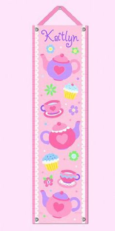"Teap Party Personalized Growth Chart by Olive Kids. $49.99. Mark wall with a pencil 60 inches up from the floor, line up the pencil mark with the 60 inch mark on the growth chart and hang on wall.. Corners have grommets and include a 28"" decorative pink grosgrain ribbon & tacks for easy hanging.. Please enter personalization request in the gift message section at checkout.. Growth Chart measures 12"" x 43"" inches and is marked for measuring both inches & centimeters....."