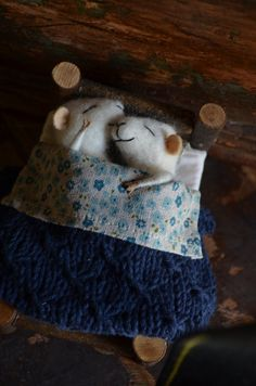 Awwww, how adorable!    Sleeping Married Sweet Tiny Mice  unique  needle by feltingdreams, $118.00