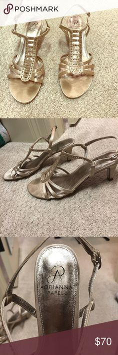 Adrianna Papell Gold heels Gold strappy heels with gold rhinestones! Short heels! Only worn one time, they were my wedding shoes! Adrianna Papell Shoes Heels