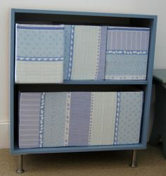 no sew fabric covered box---except use the boxes we have in abundance