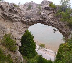 It's a long climb from the road below up to Arch Rock, but it's worth the trouble! Mackinac Island, MI