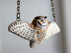 Great horned owl in flight necklace by HandyMaiden on Etsy, $55.00