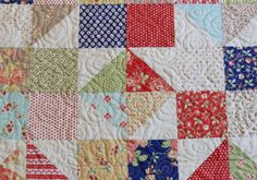 a great charm quilt tut (using just 5 charms & a neutral for an almost twin sized throw) on Moda Bake Shop: Avalon Scrappy Summer Quilt.  Anything made with Joanna Figueroa's Fig Tree fabrics (Avalon in this quilt) will be gorgeous, and this one is! LOVE it.