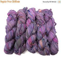 SALE New! Sari Silk Ribbon, 100g , Hydrangea