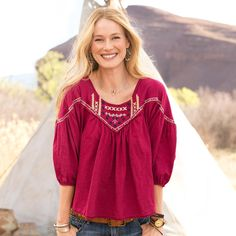 """ANASAZI ESSENCE SHIRT -- Loose pleats at body, sleeves and back create a forgiving silhouette to love. Embroidered, pleated cotton shirt with tribal-inspired yoke needlework, raw-edge detail. Hand wash. Imported. Exclusive. Sizes XS (2), S (4 to 6), M (8 to 10), L (12 to 14), XL (16). Approx. 24-3/4""""L."""