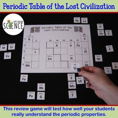 """Do your students REALLY know and understand the periodic properties on the periodic table? In this fun review game, students must decipher the clues to determine the position of each """"ancient element"""" on the periodic table of a lost civilization. How well do your students understand electronegativity, ionization energy, atomic radius, valence electrons, valence shells, periods and families, atomic mass, atomic number, metals, nonmetals and semimetals?"""
