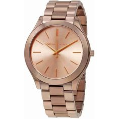 Michael Kors Slim Runway Sable Dial Ladies Dress Watch ($195) ❤ liked on Polyvore featuring jewelry, watches, dress watches, bezel watches, analog wrist watch, stainless steel watches and michael kors