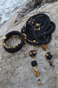 """Купить Комплект """"Элегантность 4"""" с тигровым глазом - черный, комплект украшений, лариат, лариат из бисера"""