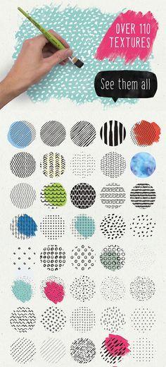 2016年の流行さきどり!商用可のスケッチ&水彩ペイント用デザインキット The Digital Designer's Artistic Toolkit