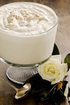Paula Deens Mama's Eggnog  ½ pint Bourbon; 1 pint heavy cream; 4 pints milk; ¾ c. sugar; 6 eggs, separated; 1 tbsp. Vanilla; Nutmeg In bowl beat egg yolks with ½ c. sugar til thick. In another bowl beat egg whites with ¼ c. sugar til thick. In third bowl beat cream til thick. Add cream to yolk, fold in egg whites,+add milk, Bourbon, Vanilla,+pinch nutmeg if desired. Chill in freezer before serving.