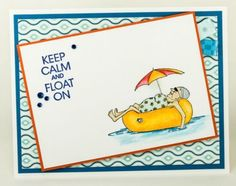 Sunburn Granny. Words: keep calm and float on are sold separately.  Made by Art Impressions and you can purchase these from my ebay store Pat's Rubber Stamps & Scrapbooks, Click on the picture here to see the listing , or call me 423-357-4334 with order, or come by 1327 Glenmar Ave. Mt Carmel, TN 37645, Pat's Rubber Stamps & Scrapbook supplies. We take PayPal. You get free shipping with the phone orders of $30.00 or more. Use my search engine to find all items you are interested in