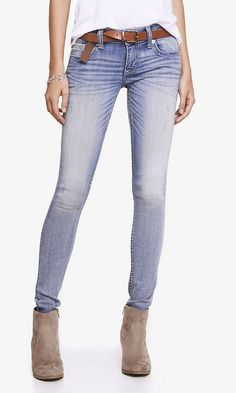 Light Low Rise Thick Stitch Jean Legging from EXPRESS