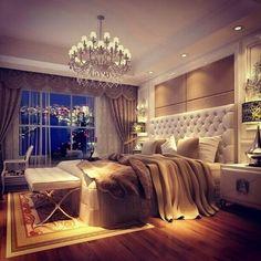 Elegant bedroom with a view city lights bedroom decor elegant design interior