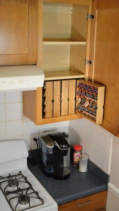 KCup Storage For Kitchen Cabinet right hand cabinet by donalddavie, $35.00, love this idea beside my fridge. Put small cabinet connecting top and bottom cabinets and put these in there for my keurig