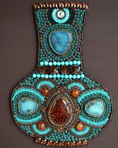 Turquoise & Crab Fire Agate Wall Art