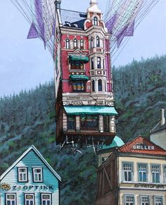 Check out Alexei Svetlov, Flygende Louisiana fra Bergen (2019), From GALLERI RAMFJORD Bergen, Oslo, Louisiana, Big Ben, Mixed Media, Artsy, Paintings, Building, Check