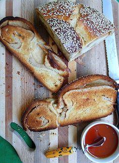 Tahini Swirl Challah for Rosh Hashanah and #tbtfood