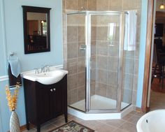 Bathroom in finished basement Mold And Mildew, Elkton, Basement Systems, Corner Bathtub, Egress Window, Home, Waterproofing Basement, Basement Bathroom, Ellicott City