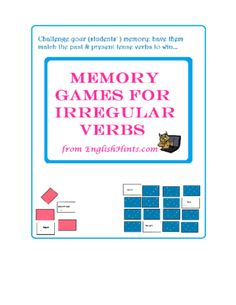 Memory Games for Irregular Verbs from EnglishHints on TeachersNotebook.com -  (17 pages)  - This packet includes Memory (Concentration) cards for 47 common irregular verbs (6 game sets of 16 cards), along with instructions for preparing and playing memory games.