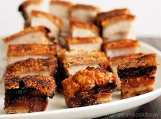 roasted, crispy pork belly, recipe simple enough to make at home.