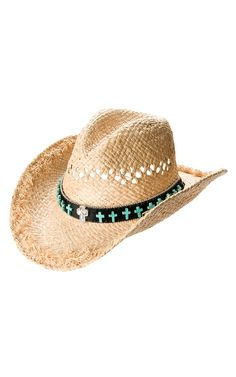 e8af453ff91 M   F Vented Straw with Black Turquoise Cross Band Crushable Hat Western  Hats