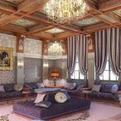 Super salon marocain réalisation du talentueux cabinet d'architecture d'intérieur CROQUIS pour le salon d'un Riad. Rabat - Maroc