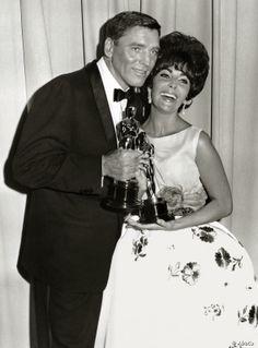 "1960 Oscar Winners - Elizabeth Taylor - Best Actress Oscar for ""BUtterfield 8"" (1960) with Burt Lancaster - Best Actor Oscar for ""Elmer Gantry"" (1960)"