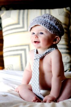 Newborn Baby Boy Gray Newsboy Crochet Cap Brimmed Hat Photo Prop. $22.00, via Etsy.