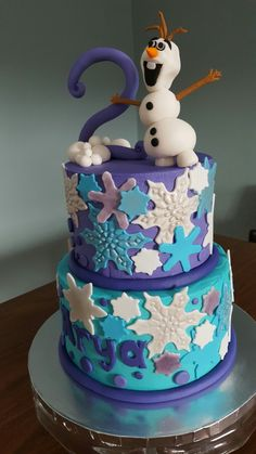 Frozen Olaf Shimmer Snowflake snowball cake for a 2 year old