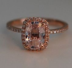 Rose gold ring engagement ring. Peach sapphire by EidelPrecious