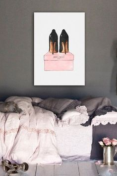 Oliver Gal Night Out Stilettos Canvas Art on HauteLook Perfect in my makeup room or guest bedroom My New Room, My Room, Home Design, Interior Design, Sweet Home, Decoration Inspiration, Beauty Room, Dream Bedroom, Closet Bedroom