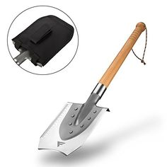 Camping Shovels - FiveJoy Military Entrenching Shovel J2  High Strength Double Edge Spade w Hardwood Handle  Heavy Duty Survival Etool for Camping Hiking Chopping and Splitting Wood  Ideal Car Emergency Tool Kit ** Click on the image for additional details.