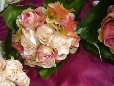Very Pretty Artificial Wedding Bouquet,Peach/Pink/Green Roses/Hydrangea/Foliage