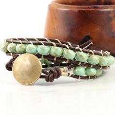 Brown Wrap Bracelet Mint Green Leather Wrap by AbacusBeadCreations, $34.00