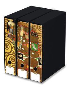 KAOS Lever Arch Files 2ring Binders with slipcase, Spine 8 cm, 3 pcs Set  - THE HUG, GUSTAV KLIMT  - 3 pcs Set Dimensions: 26.8x35x29 cm