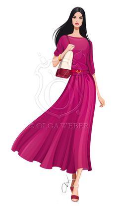 Fashion illustration: long Fendi dress by *Ollustrator on deviantART