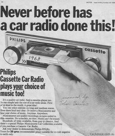 History In Pictures ‏@History In Pics Philips Cassette Car Radio ad, 1968