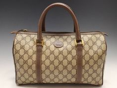 fbcf5bef3258 Vintage Gucci brown GG monogram Supreme boston bag   satchel   purse